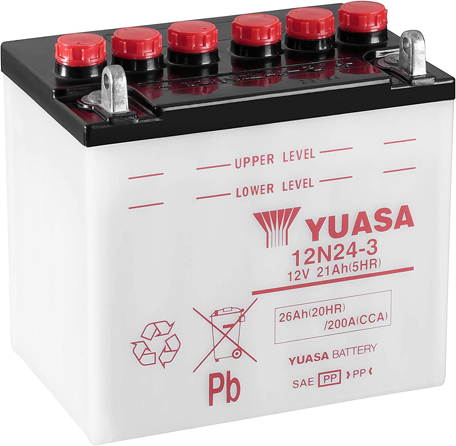 SOLD DRY-WITHOUT ACID YUASA CONVENTIONAL MOTORCYCLE BATTERY 12N24-3 12V 24AH