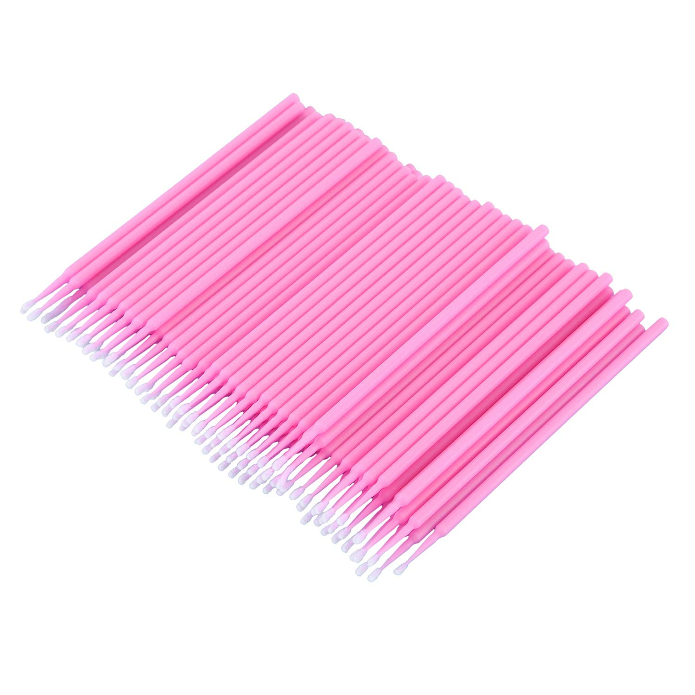 XZANTE 100 Pcs Dental Micro-Brush Disposable Materials Tooth Applicators Medium Fine(pink)