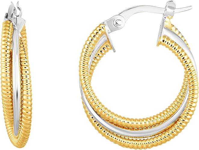 14K Yellow Gold Shiny Textured Round Hoop Earrings with Hinged by IcedTime