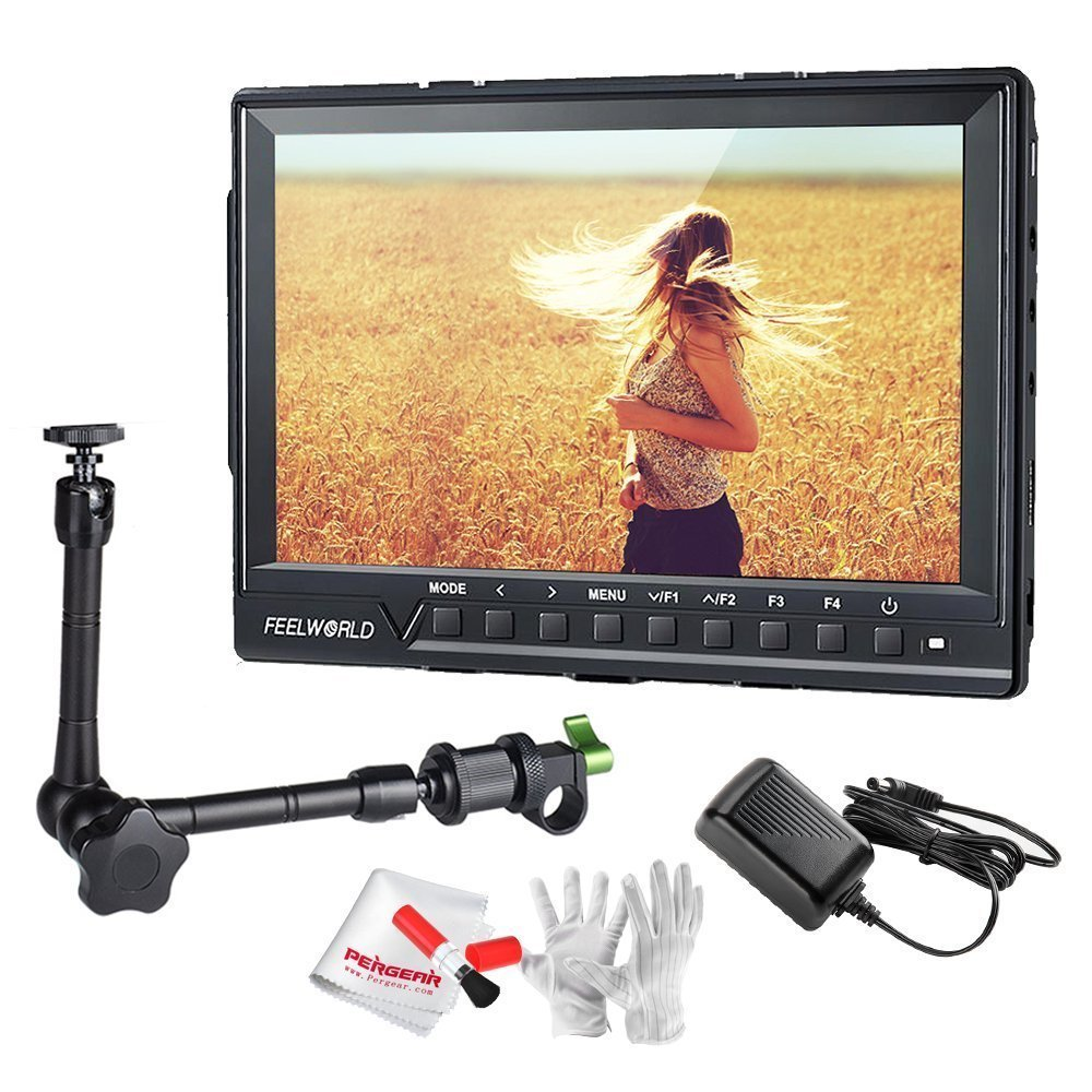 Feelworld FW760 7インチIPS フルHD1920x1200オンカメラフィールドモニタ 11インチマジックアーム付き ピークフォーカスアシスト ヒストグラムゼブラ露出-1200:1高コントラスト、450cd/ m2高輝度、160広視野角 4K HDMI信号入力までサポート B01GY5ASGA