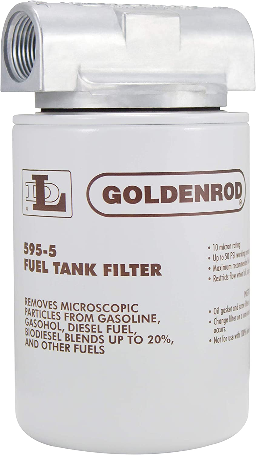 Bowl Fuel Tank Filter with 3//4 NPT Top Cap 56591 GOLDENROD 496-3//4 WATER-BLOCK FILTER
