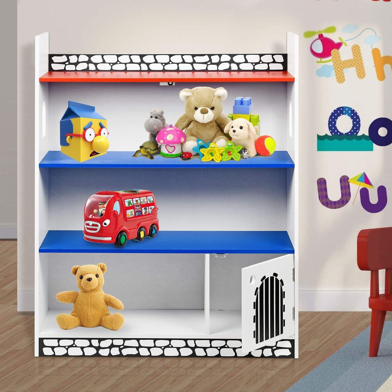 Wooden Castle Shelf Bookcase Storage Rack Display Shelving Unit Children's Books Games Toys Tidy Display Storage SmashingDealsDirect®