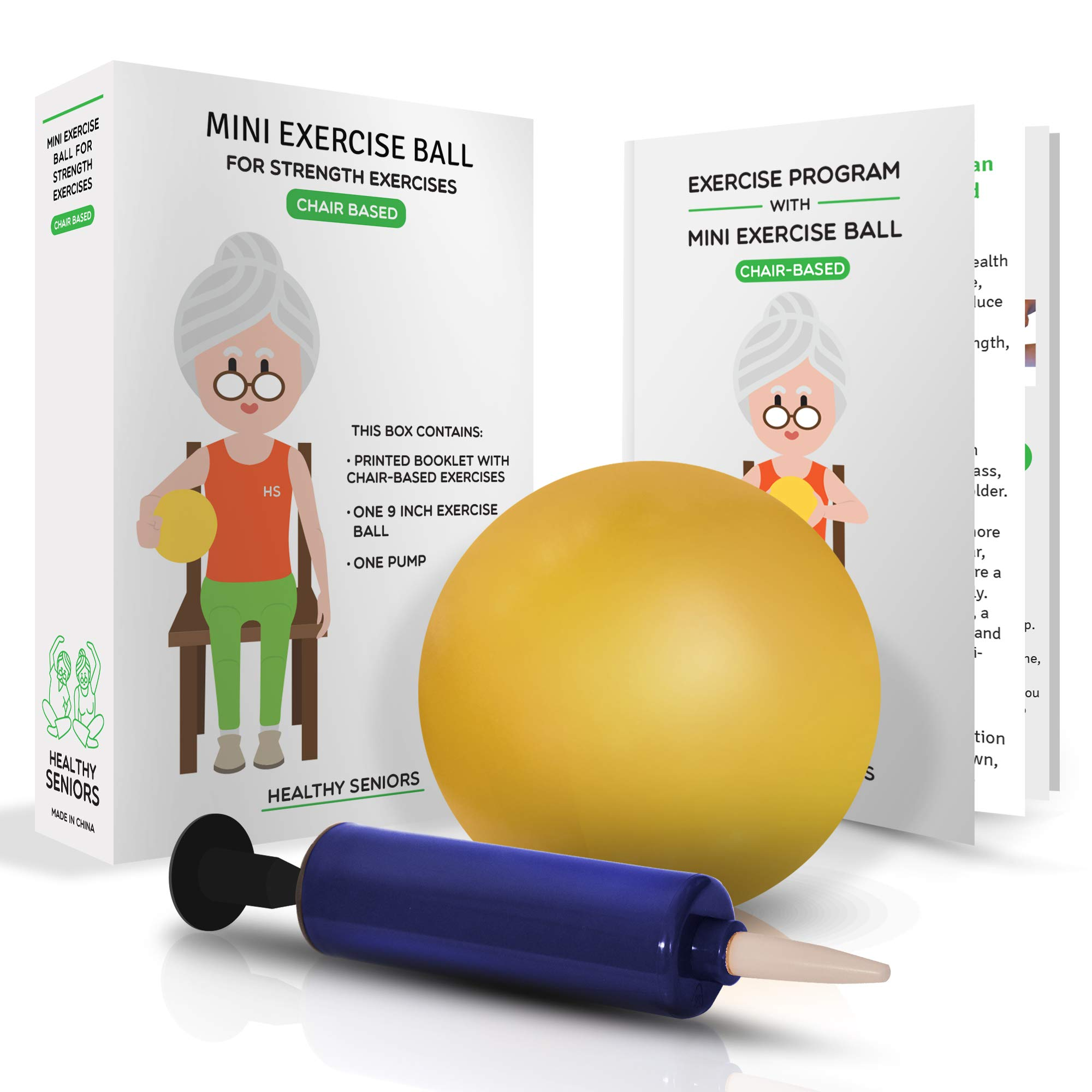 Healthy Seniors Chair Exercise Program with Mini Exercise Ball, Pump and Printed Exercise Guide. Ideal for Rehab or Physical Therapy. Great Gift for a Grandparent