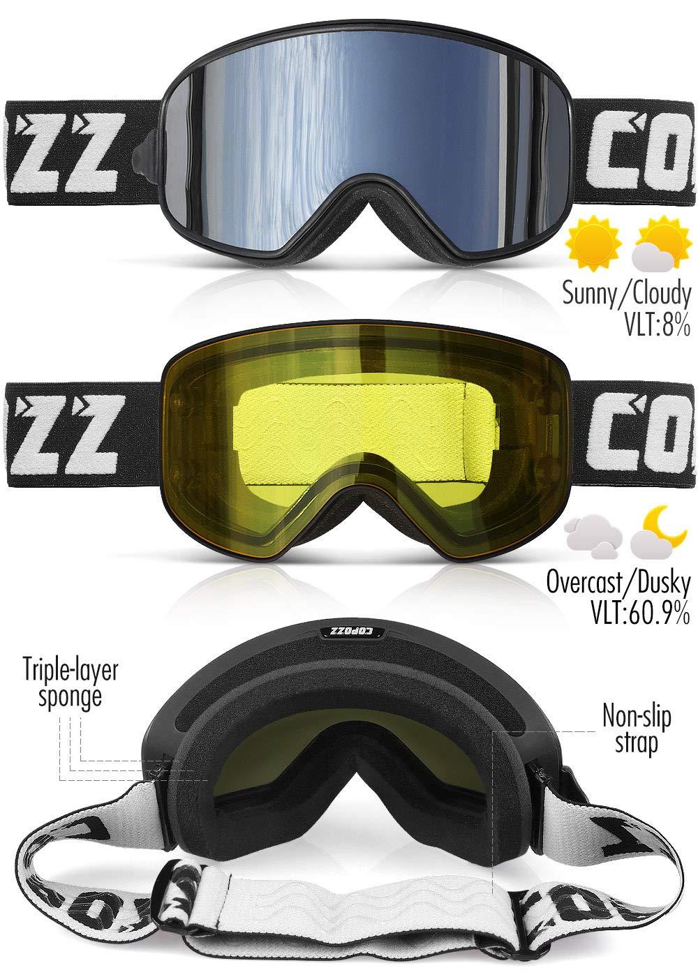 e19651f108a COPOZZ MX Ski Snow Snowboard Goggles Magnetic Interchangeable Lens ...