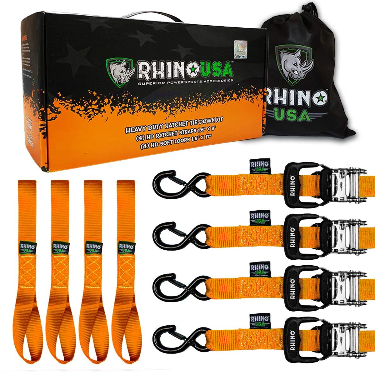 RHINO USA Ratchet Straps Heavy Duty Tie Down Set, 5,208 Break Strength - (4) Heavy Duty 1.6'' x 8' Cargo Tiedowns with Padded Handles & Coated Chromoly S Hooks + (4) Soft Loop Tie Downs Strap (ORANGE) by Rhino USA