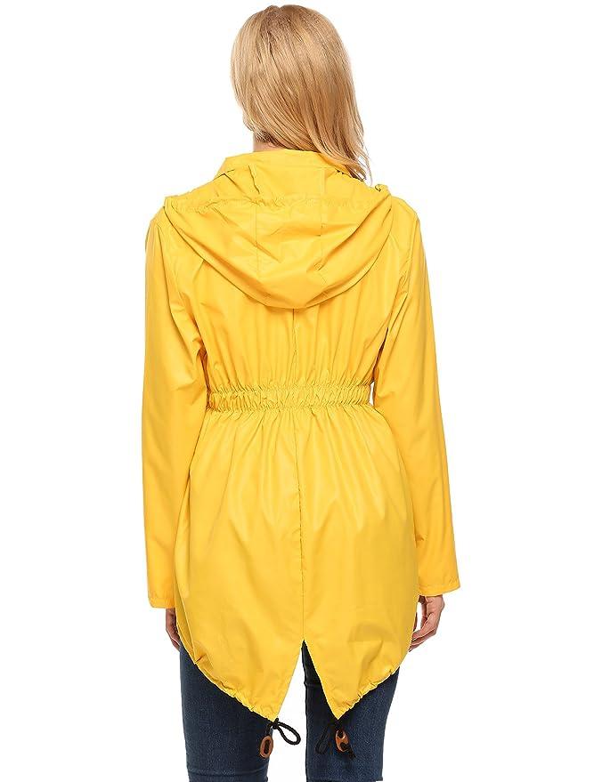 Vier Jahreszeiten Atmungsaktivit/ät Outdoorjacke Jacke mit Kapuze Taschen haben mit Taschen Erweitert Einfarbiger Wellenpunkt Beyove Damen Windjacke Regenjacke Regenmantel Regenparka Wassers/äule