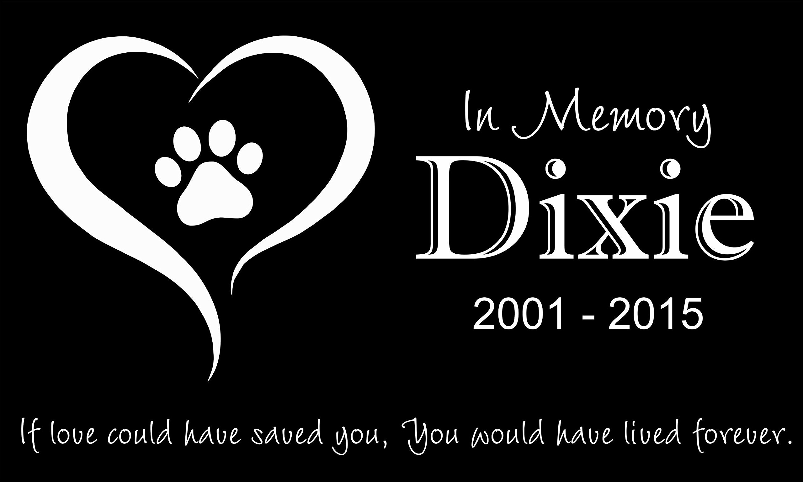 Custom Made Pet Stone Memorial Marker Granite Marker Dog Cat Horse Bird Human 6'' X 10'' Personalized Personalised Human Person People Family