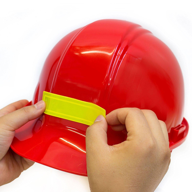 (Pack of 16) Troy Safety Adhesive Vinyl Retro-Reflective Hard Hat/Helmet Sticker, 1'' Length x 4'' Width x 0.014'' Thickness, Orange