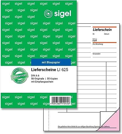 Sigel Li625 Lieferscheine Mit Empfangsschein A6 2x50 Blatt 1 Stück Bürobedarf Schreibwaren