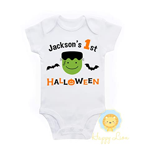 0fdf7e273 Amazon.com: Happy Lion Clothing - 1st Halloween baby boy personalized onesie  outfit: Handmade