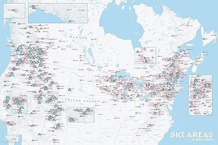 Amazon.com: North America Ski Resorts Map 24x36 Poster (White ...