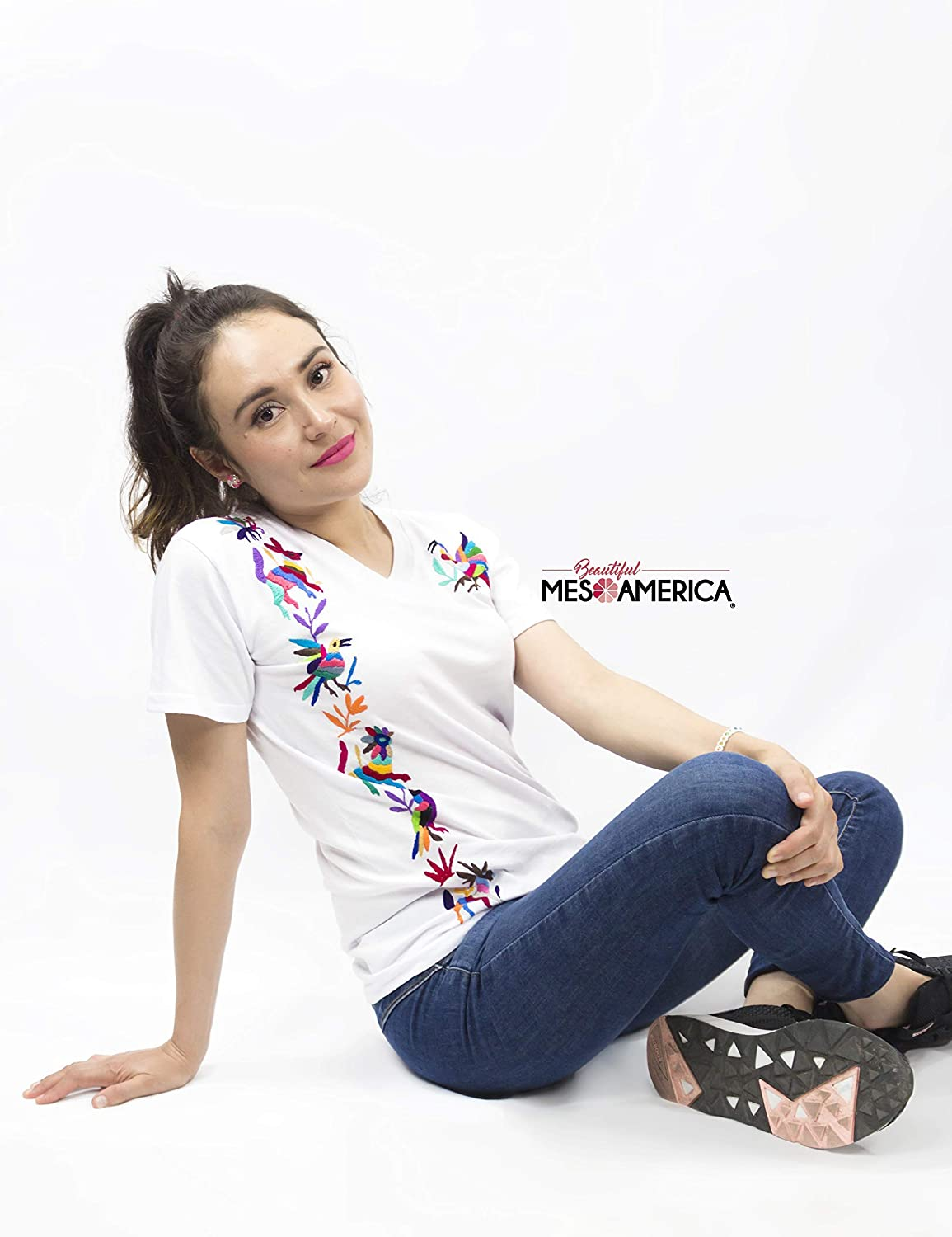 Handmade Mexican T-Shirt Tanok Mujer Hand Embroidered Mexican T-Shirt