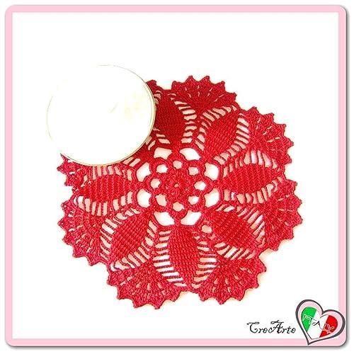 Centrino Rotondo Rosso Alluncinetto In Filato Di Cotone