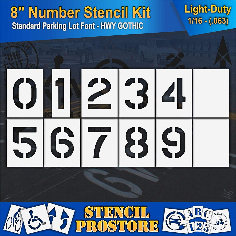 - 8 x 6 x 1//16 Pavement Stencils 8 inch Number KIT Stencil Set - 12 Piece 63 mil - Light-Duty