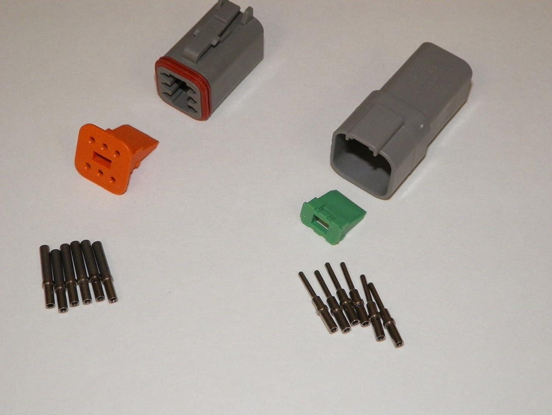 Deutsch DT Series 6 Pin Connector Kit w/Barrel Style Terminals 16-20 AWG LDTK6