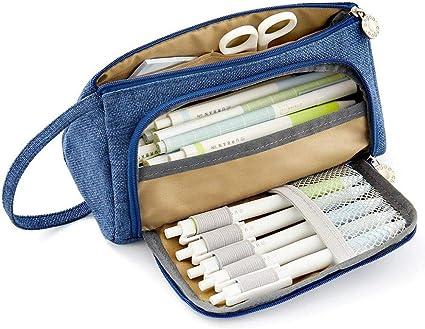 Shager – 1 estuche grande con 3 compartimentos para niño , gran capacidad de estuches escolares, color azul 20 * 11CM: Amazon.es: Oficina y papelería