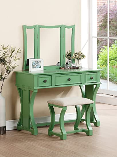Surprising Major Q 54 H Contemporary Casual Style Apple Green Trifold Mirror Wooden Vanity Set With Stool Pxf904117 Short Links Chair Design For Home Short Linksinfo