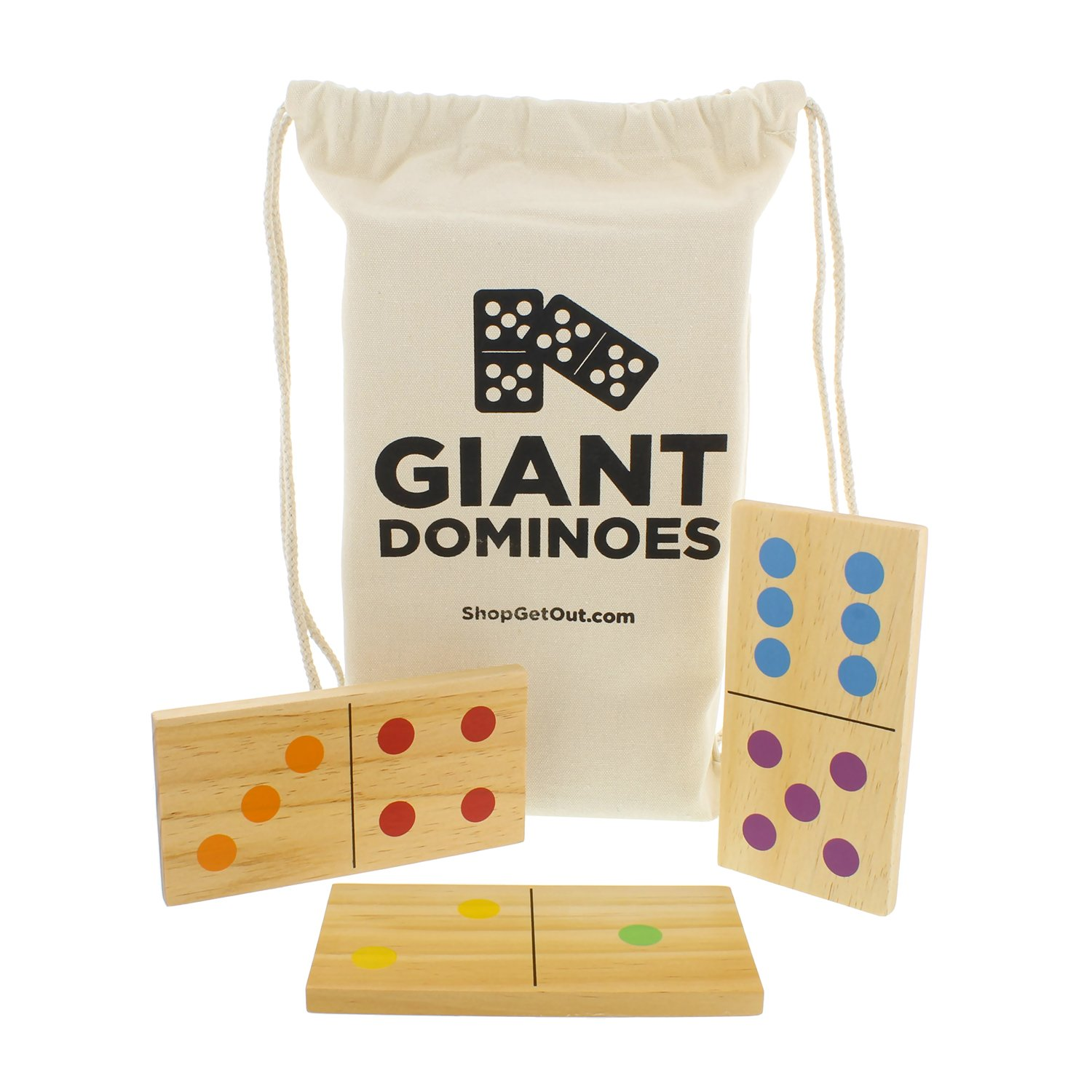 Get Out! Giant Wooden Dominoes 28-Piece Set with Bag – Jumbo Natural Wood & Colored Numbers – Kids Adults Outdoor Games