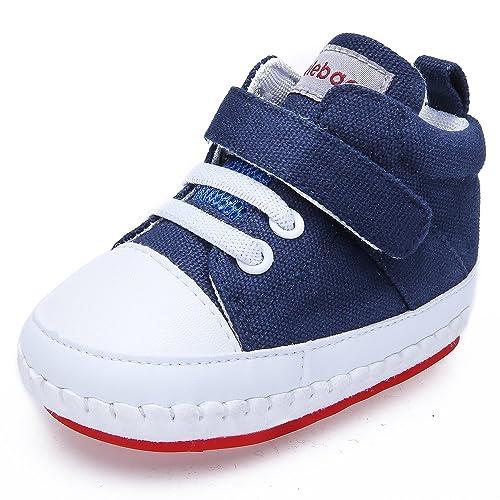 DELEBAO Zapatos Bebe Niña Zapatillas Lona Bebe Bambas Bebe Niño con Suela Antideslizante Calzado Primeros Pasos
