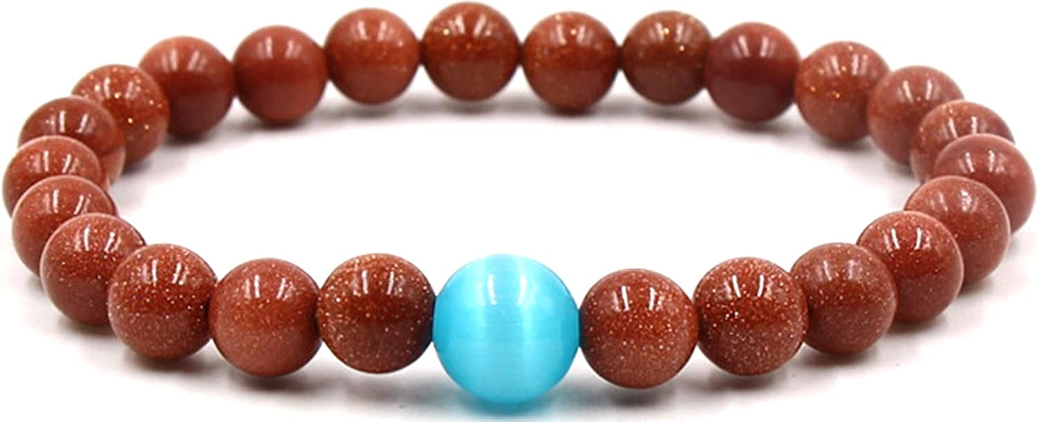 Halin Dre Fashion Crystal Ball Turquoise Tiger Eye Stone Beads Stretch Bracelet Bangle For Women Men