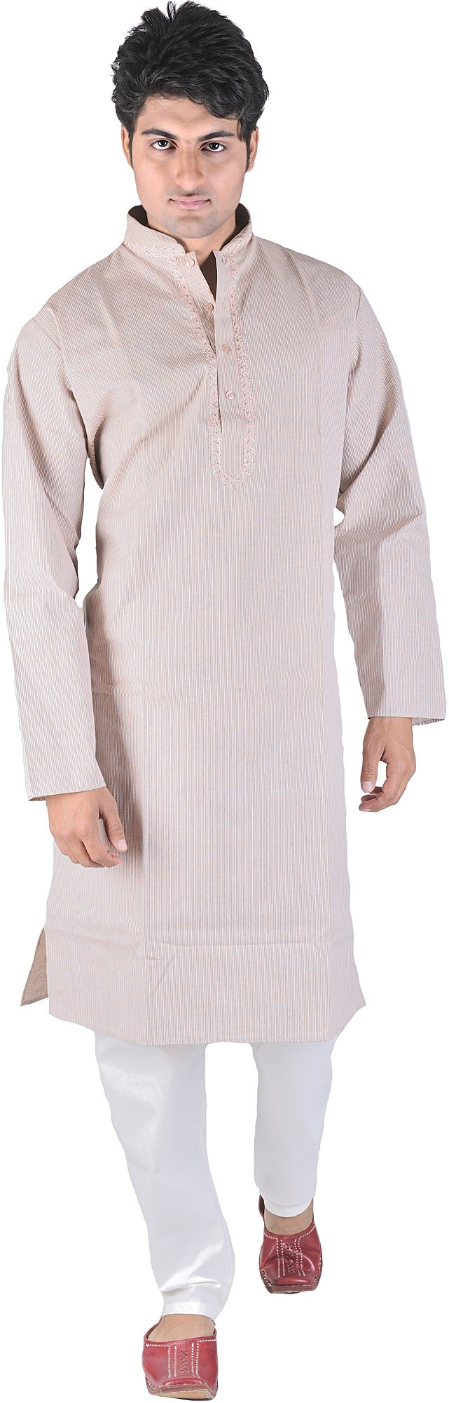 Exotic India Coral-Pink Kurta Pajama with Fine Woven St Size 40