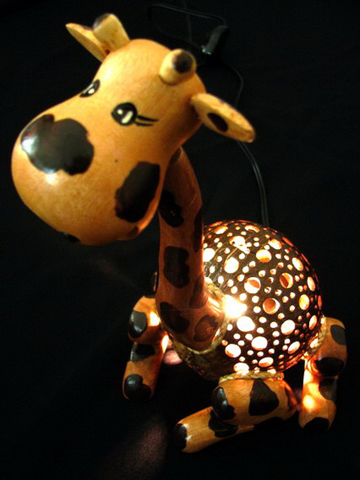 Coconut Shell Lamp - Giraffe Lamp 10'' Height - Wooden Crafts Handmade of Thailand Craftsman by Thailand Gifts Shop (Image #3)