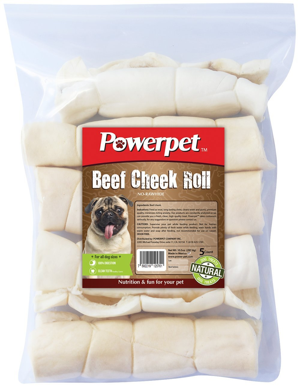 Powerpet: Beef Cheek Rolls - Natural Dog Chews - Helps Improve Dental Hygiene - 100% Natural & Highly Digestible - High in Protein, Low in Fat - Beef Cheek Treats - No Rawhide Used