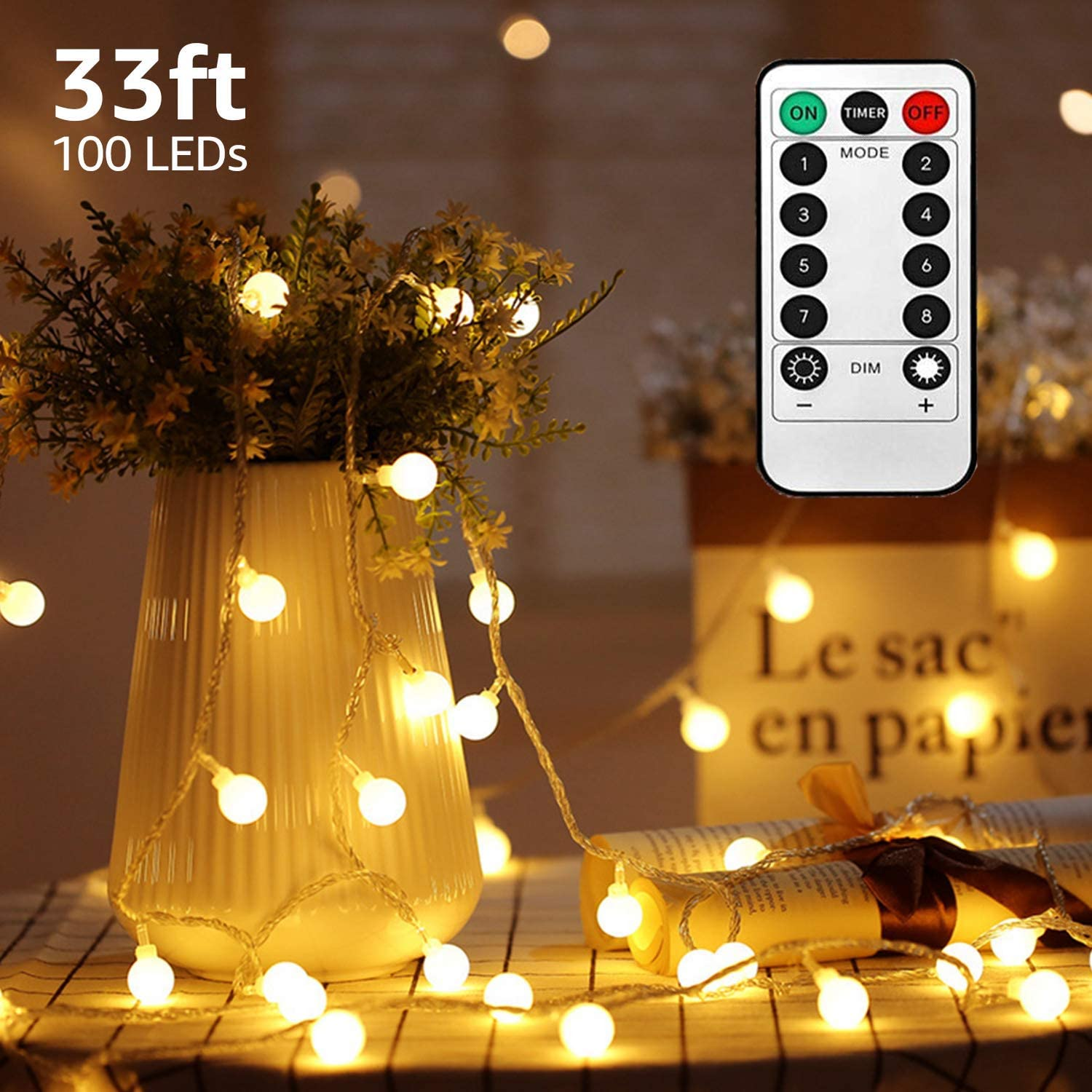 TuoPuLife LED String Lights,33ft 100 Led Waterproof Ball Lights, Battery Powered Starry Fairy Globe String Lights with Remote Timer for Bedroom, Garden, Christmas Tree, Wedding, Party (Warm Light)
