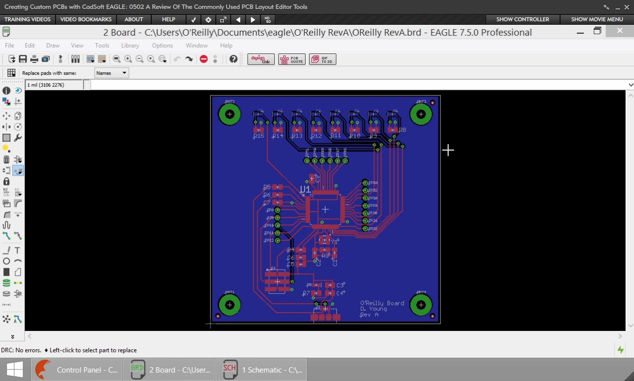 Creating Custom Pcbs With Cadsoft Eagle Online Code Cad Controller Schematic Display Software