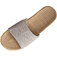 YUENA CARE Unisex Open-Toe Flax Slipper Home Slippers Couple Sandals