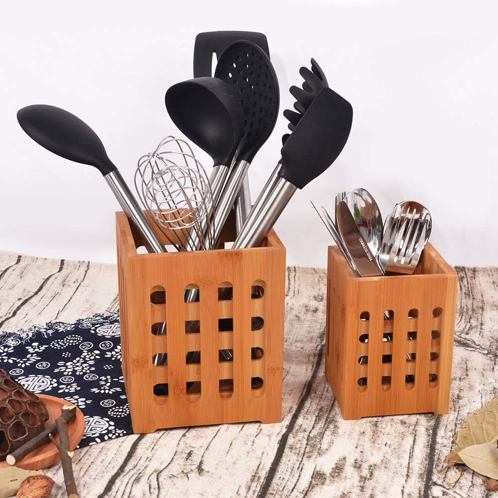 SZUAH Bamboo Utensil Holder + Flatware Holder, Large Capacity Utensil Cutlery Caddy Organizer with Drainer Holes & Lattice, 2 Pack (6.6x5.5, 5.48x4) by SZUAH (Image #2)