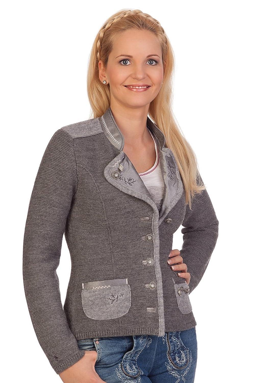 Damen Trachten Strickjanker - WONNE - dunkelbraun, mittelgrau