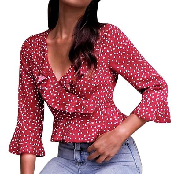 Camisetas De Gasa Mujer,Blusas Tops con Volantes 2018 Manga Larga V-Cuello Camisas