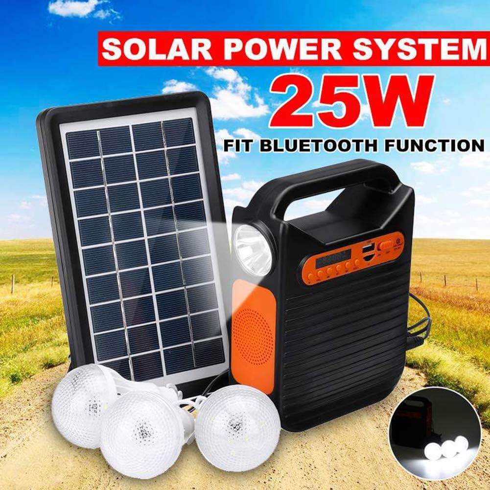 HMLIGHT Generador de energía Solar Bluetooth Kit USB del Panel Inicio Sistema Cargador + Radio MP3 Luz 3 Bombillas LED para la iluminación de Emergencia de Carga