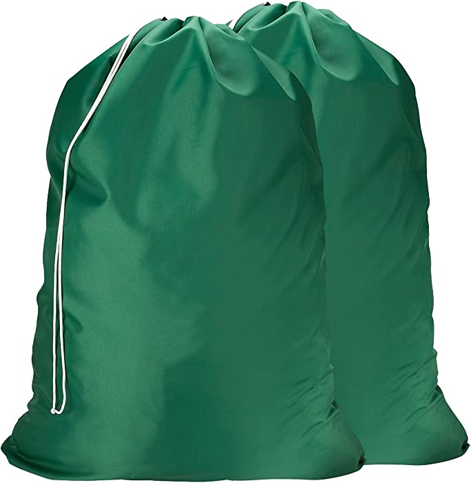 Nylon Laundry Bag - Locking Drawstring Closure and Machine Washable. These Large Bags Will Fit a Laundry Basket or Hamper and Strong Enough to Carry up to Three Loads of Clothes. (Green | 2-Pack)