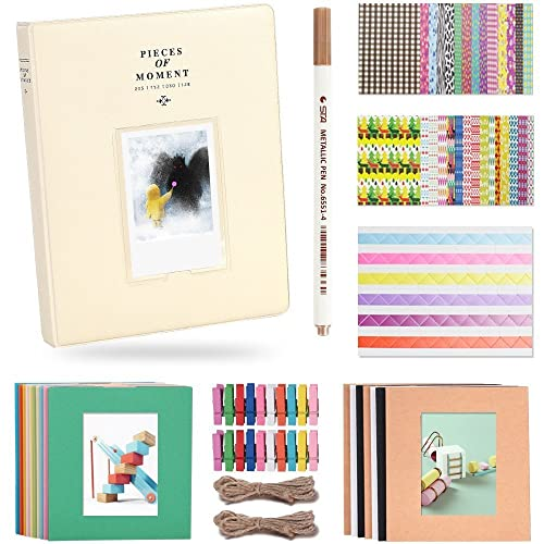 Katia 128 Pockets 3-inch Photo Album Accessories for Fujifilm Instax Mini 7s/ 8/ 9/ 25/ 50s Instant Camera with Hanging Frame/ Stickers/ Pen -Smokey Beige