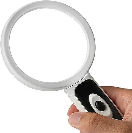 Lente con Zoom 15X Lente dIngrandimento Manuale da 90mm con Illuminata con Luce LED Brillante per Lettura Fancii Grande Lente dIngrandimento 2X con Luce Controlli Hobby e Costruzioni