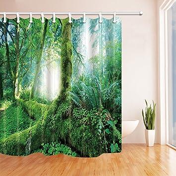 Gohebe Regenwaldes Duschvorhang Fur Badezimmer Grun Palm Blatter