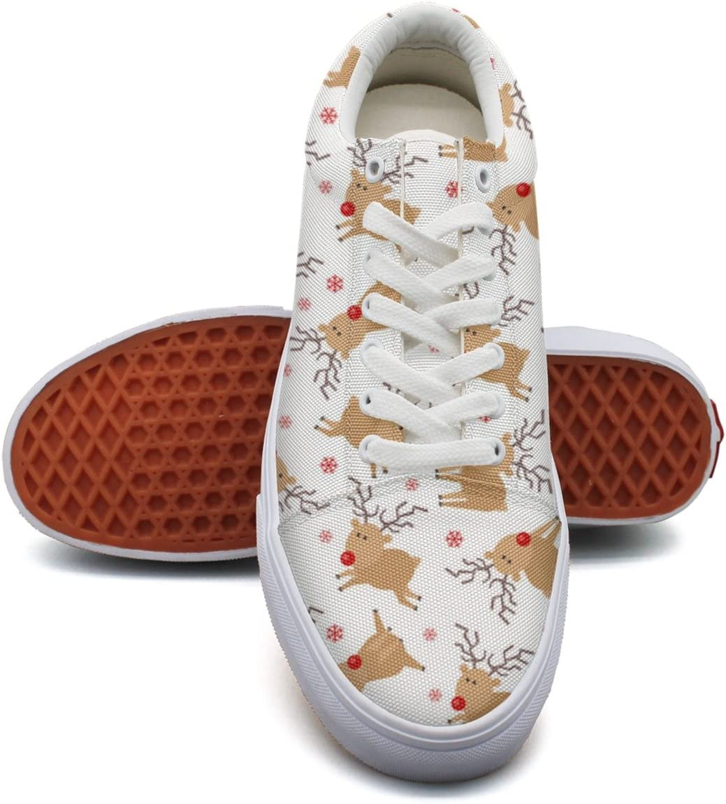 Milner Gilese Tiny Christmas Holiday Deer Print Sneaker Flat Canvas Shoes For Mens Stylish