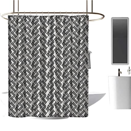 Bathroom Waterproof Fabric Abstract Black White Gray Pattern Shower Curtain Mat