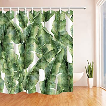 High Quality NYMB Tropic Plant Watercolor Banana Palm Leaves Bath Curtain, Polyester  Fabric Waterproof Shower Curtains,