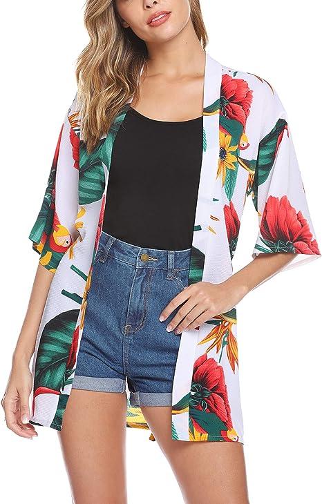 Aibrou Cardigan di Chiffon Donna Pizzo Kimono Estivo Copricostume Donna Mare Elegante Casual Cover Up per Mare Party Vacanze