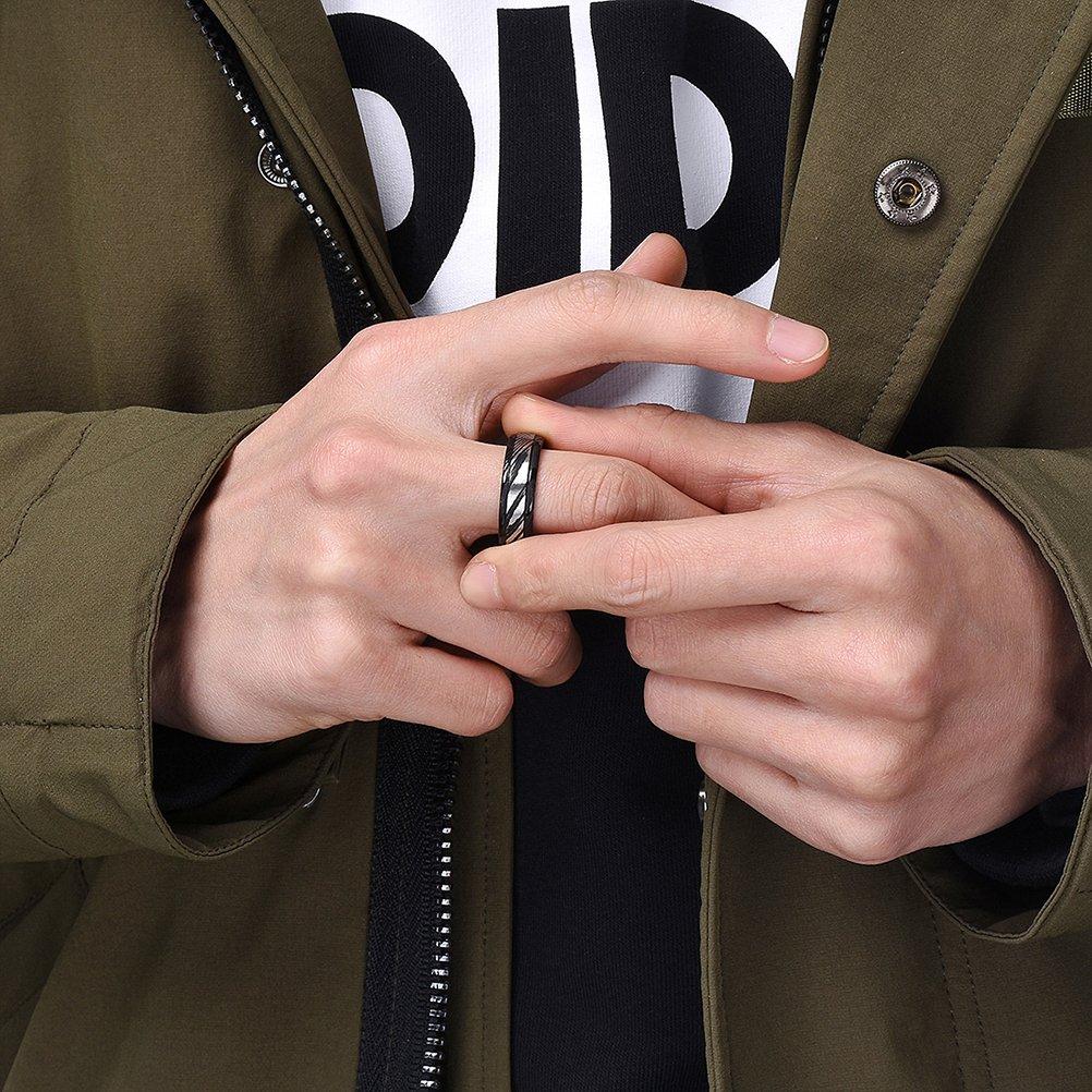 Three Keys Jewelry 6mm Damascus Steel Mens Wedding Ring Flat Wood ...