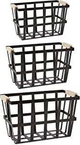 DII Urban Metal Basket Contemporary Storage Container, Set, Black, 3 Piece