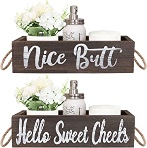 Taufey Nice Butt & Hello Sweet Cheeks Bathroom Decor Storage Box, Funny and Cute Toilet Paper Holder, Farmhouse Rustic Wood Organizer