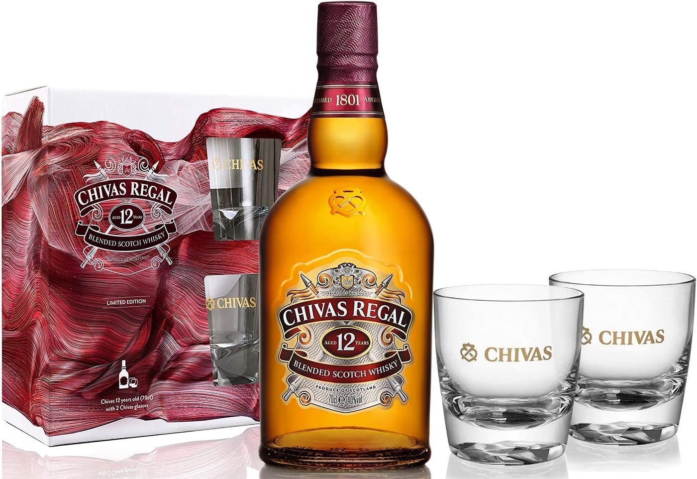 Chivas Regal 12 Year Old Blended Scotch Whisky 70cl, with 2 Chivas ...