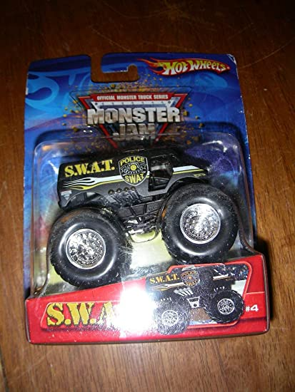 Amazon Com Hot Wheels 2005 Mattel Rare Monster Jam Swat S W A T Monster Truck Diecast 4 Toys Games