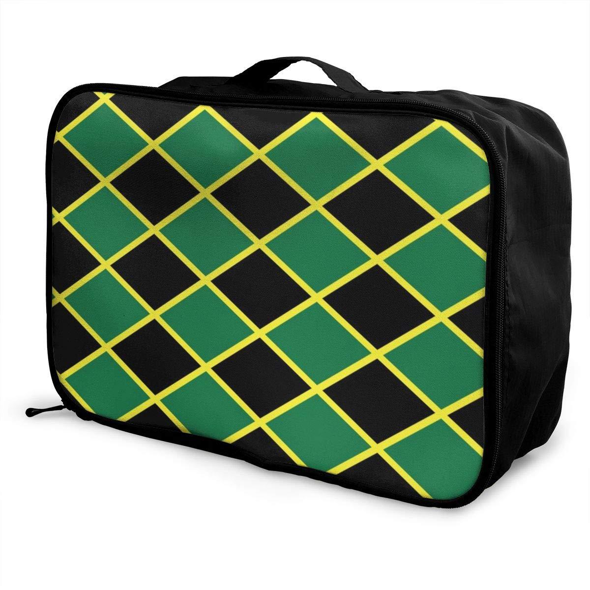 Women /& Men Foldable Travel Duffel Bag Jamaican Flag Stripe Caribbean Island Design For Luggage Gym Sports