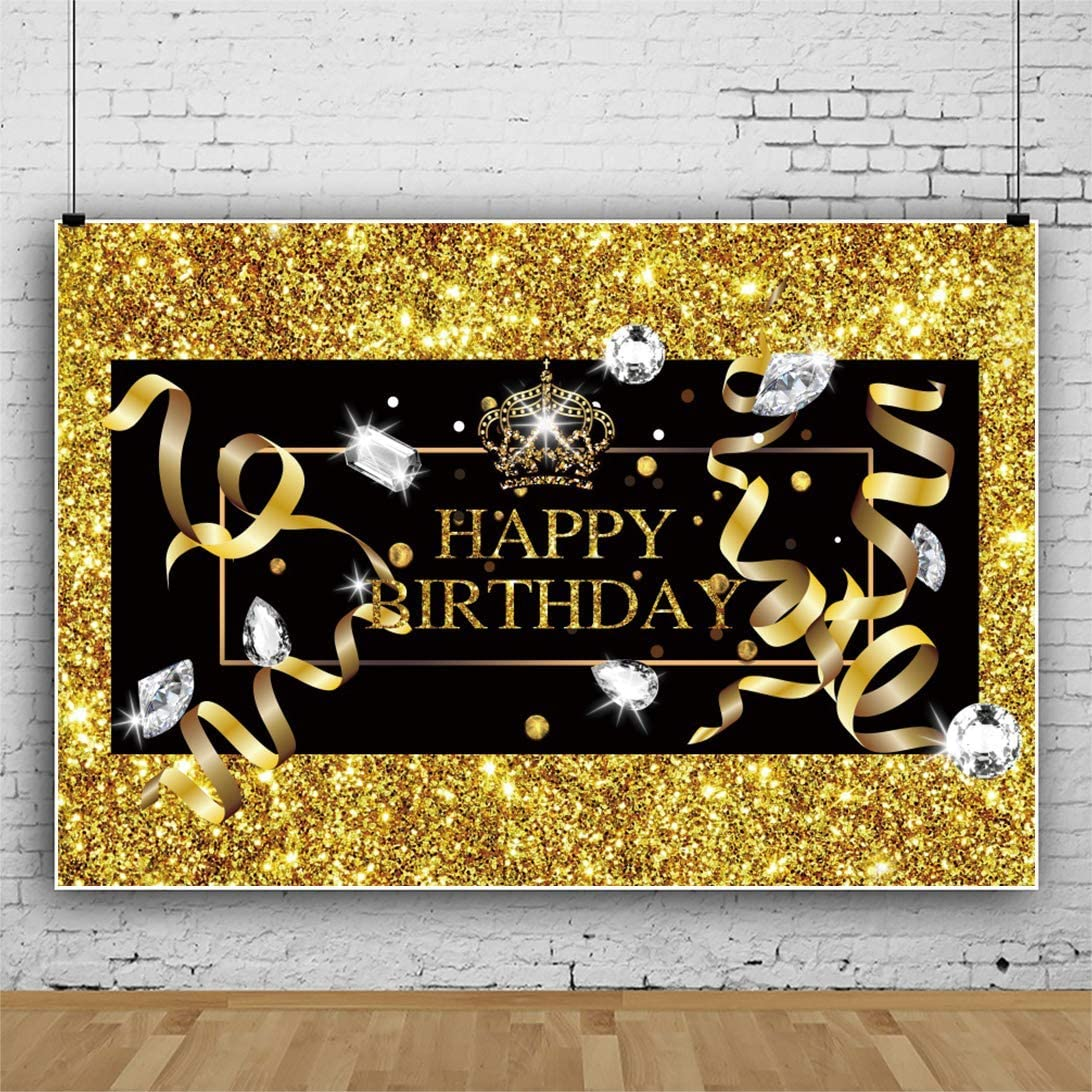 SZZWY 10x8ft Happy Birthday Backdrop Glitter Black and Golden Birthday Party Diamond Crown Ribbon Background for Photography Cake Table Decor Photo Shoot Vinyl Wallpaper