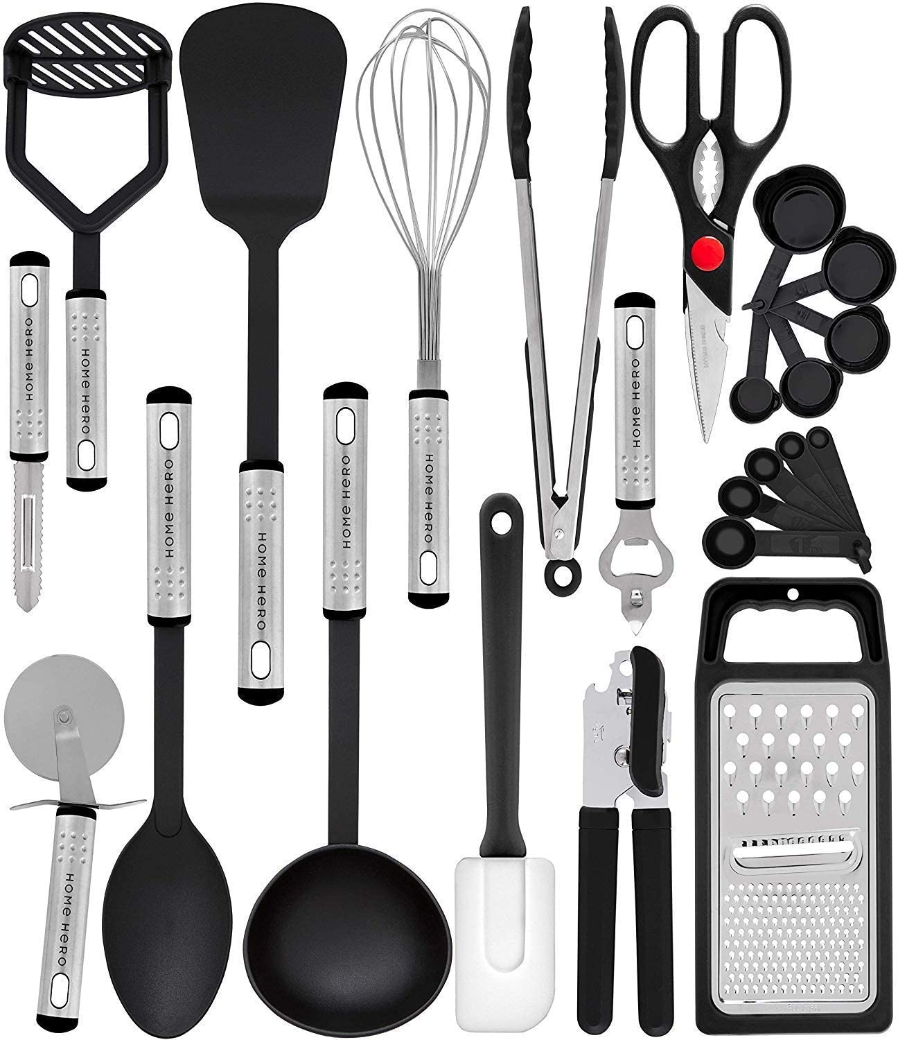Home Hero Kitchen Utensil Set - 23 Nylon Cooking Utensils - Kitchen Utensils with Spatula